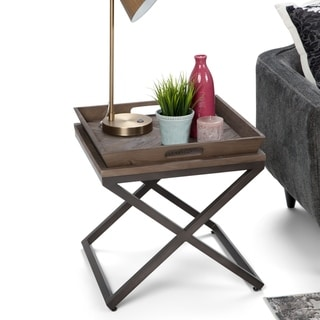 WYNDENHALL Poulton Solid Aged Elm Wood and Metal 20 inch Wide Square Modern Industrial End Side Table in Distressed Natural Elm