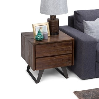 WYNDENHALL Mitchell Modern Industrail Solid Acacia Wood & Metal Side End Table - 22 W x 22 D x 22 H