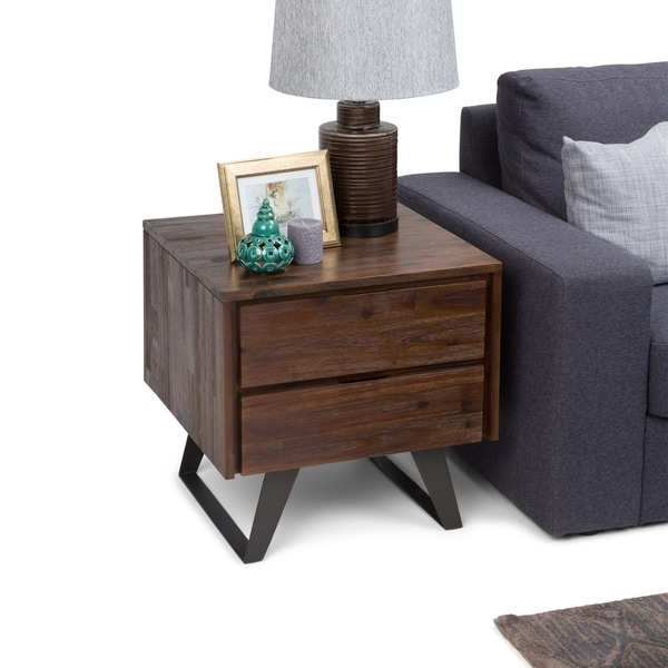 WYNDENHALL Mitchell Modern Industrail Solid Acacia Wood & Metal Side End Table - 22 W x 22 D x 22 H
