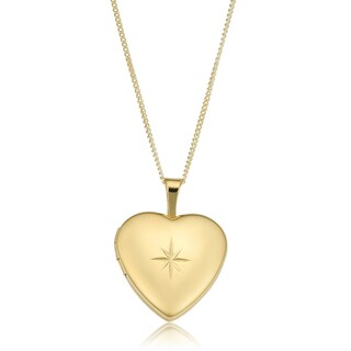 Gold or Sterling Silver Over Brass Heart Locket on Curb Chain Necklace