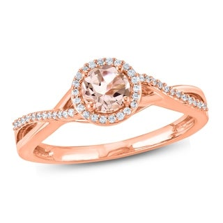 Cali Trove 1 10 Ct Round Diamond Round Shape 5 X 5mm Morganite Fashion Ring In 10Kt Rose Gold White
