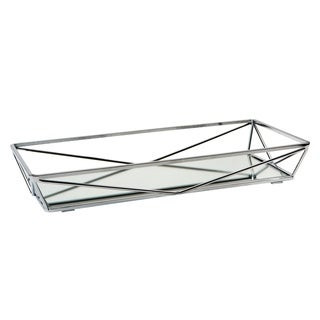 Geometric Mirrored Vanity Tray 14x7 - Chrome