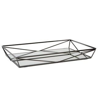 "Large Geometric Mirrored Vanity Tray 15.75x11x2.10"" - ONYX - N/A"