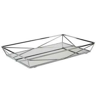 "Large Geometric Mirrored Vanity Tray 15.75x11x2.10""- Chrome"