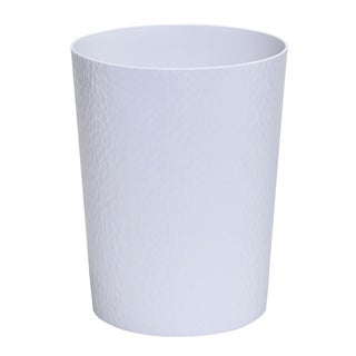 Bath Bliss Hammered Textured Trash Can in White