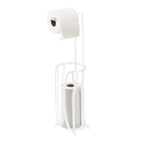 Bath Bliss Aluminum Toilet Paper Reserve and Dispenser in White
