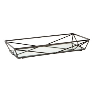 Geometric Mirrored Vanity Tray 14x7 - Onyx