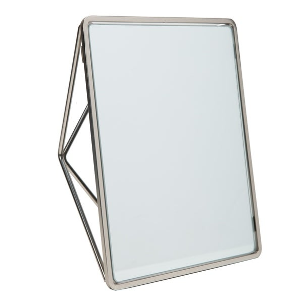 "Geometric Two Way Vanity Mirror-9.37 x 7.4 x 2.95"" - SATIN - Silver"