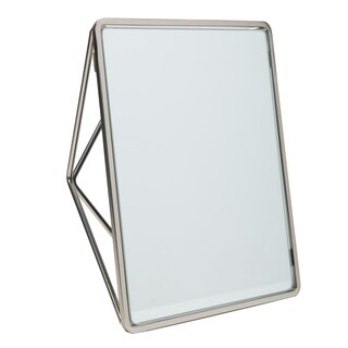 "Geometric Two Way Vanity Mirror-9.37 x 7.4 x 2.95"" - SATIN - Silver"