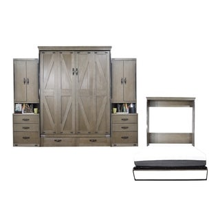 Queen Steeplechase Murphy Bed with Two Pier Cabinets in Dove Gray Finish