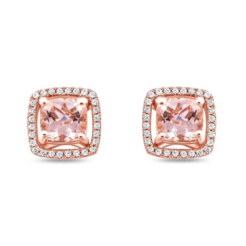 Cali Trove 1/5ct TDW Diamond Morganite Fashion Earring In 10kt Rose Gold