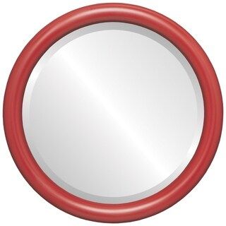 Pasadena Framed Round Mirror in Holiday Red