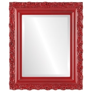 Venice Framed Round Mirror in Holiday Red