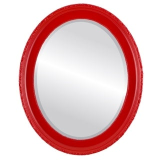 Kensington Framed Oval Mirror in Holiday Red