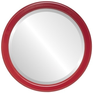 Toronto Framed Round Mirror in Holiday Red