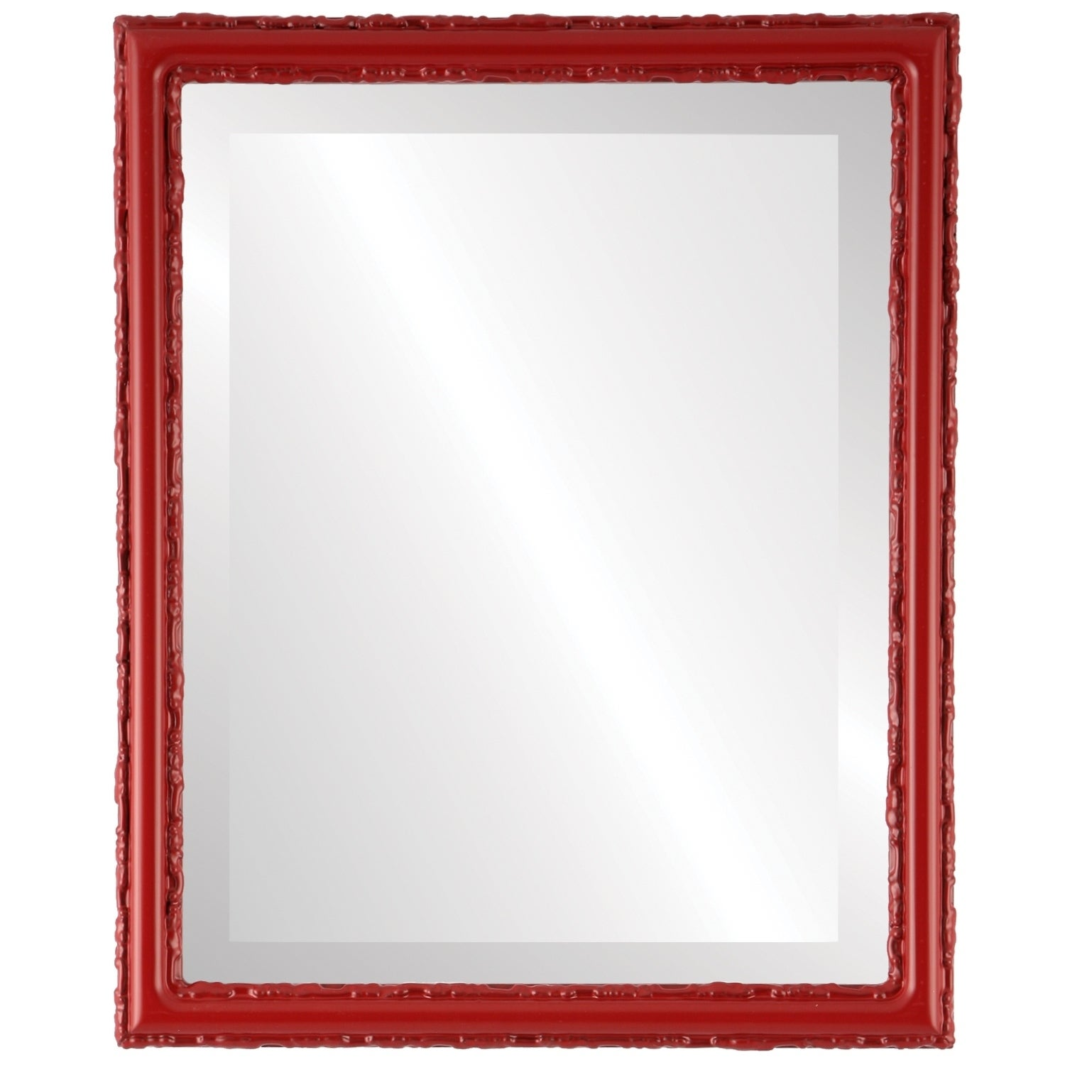 Virginia Framed Rectangle Mirror in Holiday Red (13x17)