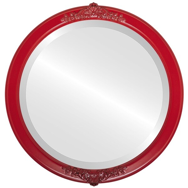 Athena Framed Round Mirror in Holiday Red