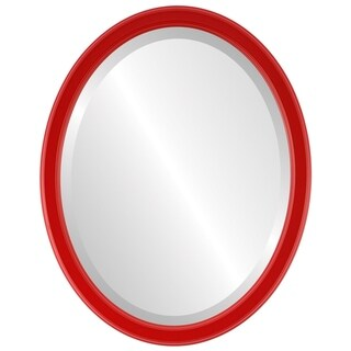 Toronto Framed Oval Mirror in Holiday Red