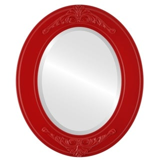 Ramino Framed Oval Mirror in Holiday Red