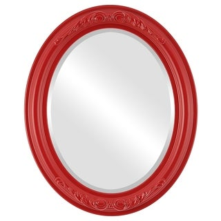 Florence Framed Oval Mirror in Holiday Red