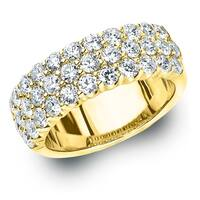 Amore 10K Yellow Gold 2.0 CT TDW Three Row Diamond Ring