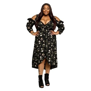Xehar Womens Plus Size Sexy Cold Shoulder Floral Ruffle Wrap Dress (3 options available)