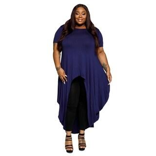 Xehar Womens Plus Size Asymmetrical High Low Hem Flowy Mini Dress