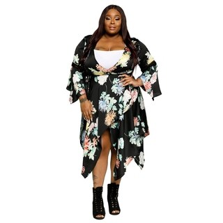 Xehar Womens Plus Size Asymmetrical Hem Floral Wrap Midi Dress (3 options available)