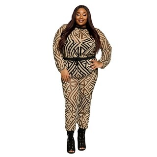 Xehar Womens Plus Size Stylish Printed Long Jumpsuit (2 Piece Set)
