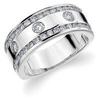 Amore 10K White Gold 1.0 CT TDW Three Diamond Railroad Ring