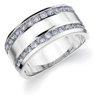 Amore 10K White Gold 1.0 CT TDW Two Row Railroad Diamond Ring