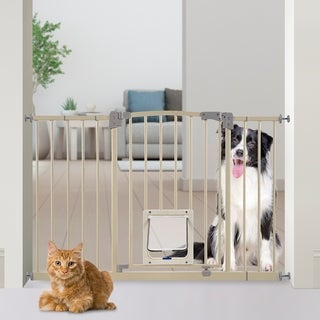 Paws & Pals Adjustable Indoor Metal Baby Barrier Dog Pet Gate with Lockable Pet Doors