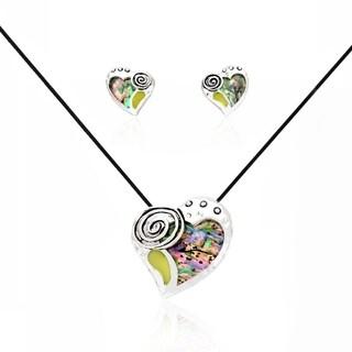 Bleek2Sheek Abalone Shell Art Deco Heart Pendant Necklace and Earring Set