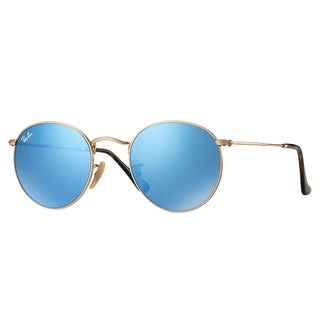 Ray-Ban RB3447N Round Flat Lenses Sunglasses Gold/ Light Blue Gradient Flash 47mm - Gold