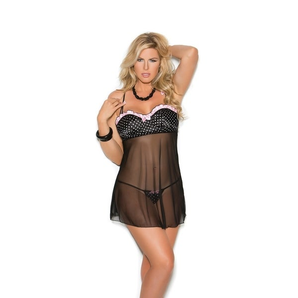 93296c06c Shop Elegant Moments Plus Size polka dot babydoll with demi cups and a  g-string - Free Shipping On Orders Over  45 - Overstock - 20564157