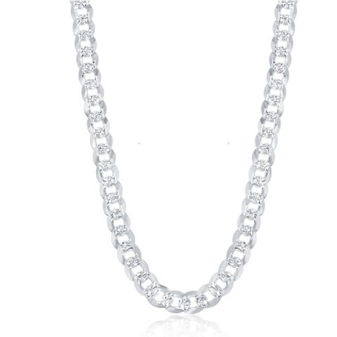 La Preciosa Sterling Silver Italian Rhodium Plated 180 Gauge Flat Pave 7.3mm Cuban Chain