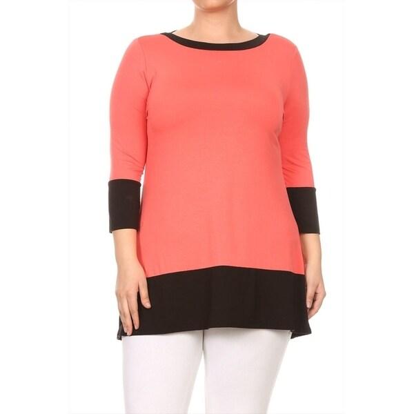 Women's Plus Size Solid Knit Color Block Top