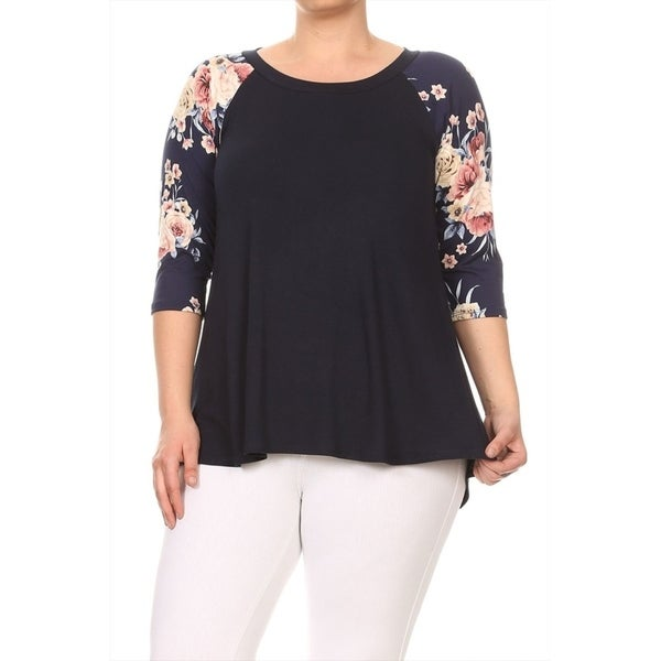 Women's Plus Size Solid Raglan Style Tunic Top