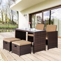 Wicker Conversation 5Pc Set Dining Cushioned Sectional Furniture Set