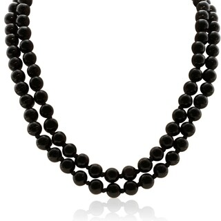 Black Onyx Beaded Hand-Knotted Necklace, 36 Inches
