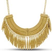 Passiana Gold Toned Grecian Fringe Bib Necklace, 18 Inches