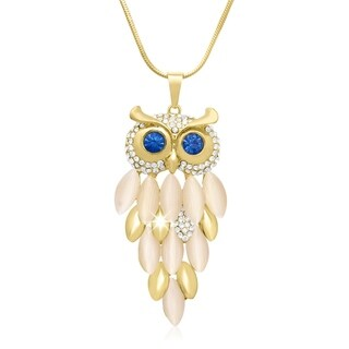 Gold Overlay Crystal Owl Necklace, 28 Inches
