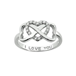 Eternally Haute Solid Sterling Silver Pave Infinity Heart Ring with I Love You Inscription