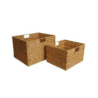 Set of 2 Tall Woven Seagrass Storage Baskets