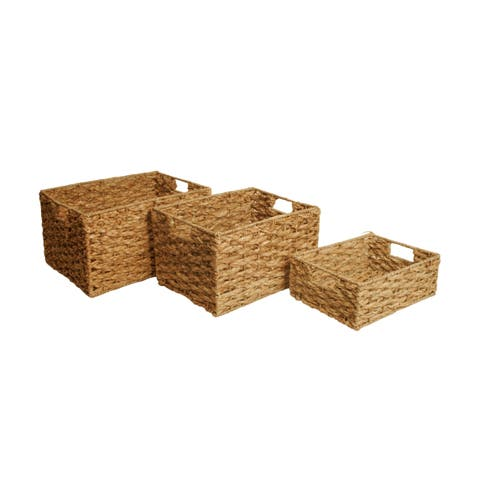 Set of 3 Woven Seagrass Storage Baskets