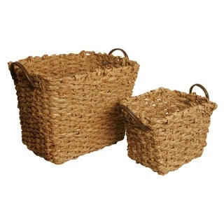 Set of 2 Woven Sisal Storage Baskets w/Faux Leather Handles