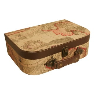 Large Map Faux Leather Suitcase