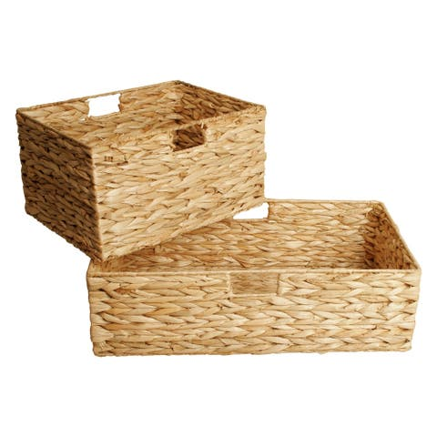 Set of 2 Woven Seagrass Storage Baskets