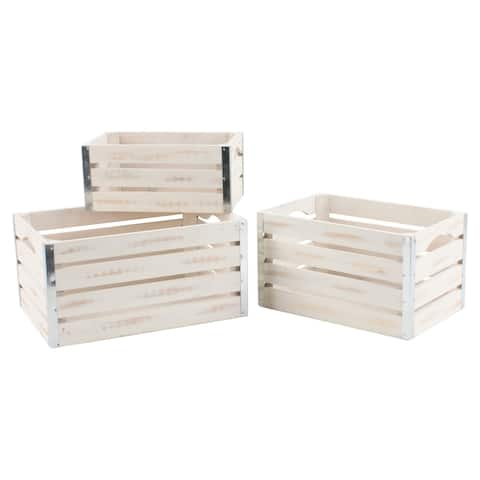 Set of 3 Medium Whitewash Wood Crates