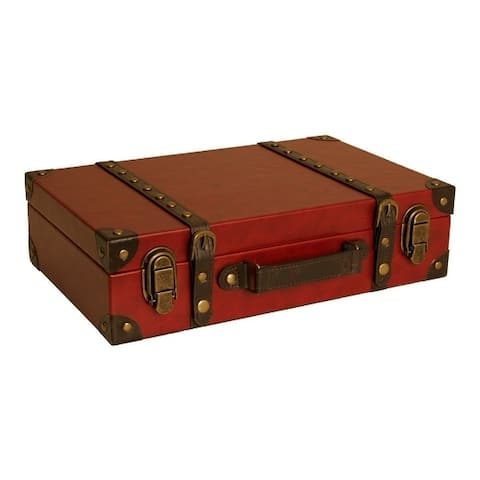 Red Faux Leather Suitcase